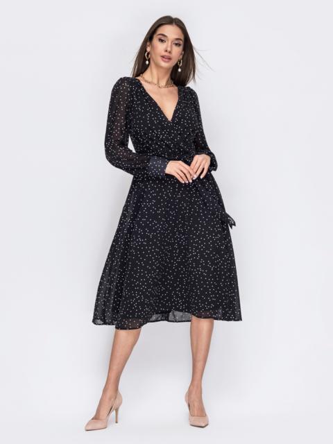 Черное платье из креп-шифона с фиксированным запахом 53474, фото 1