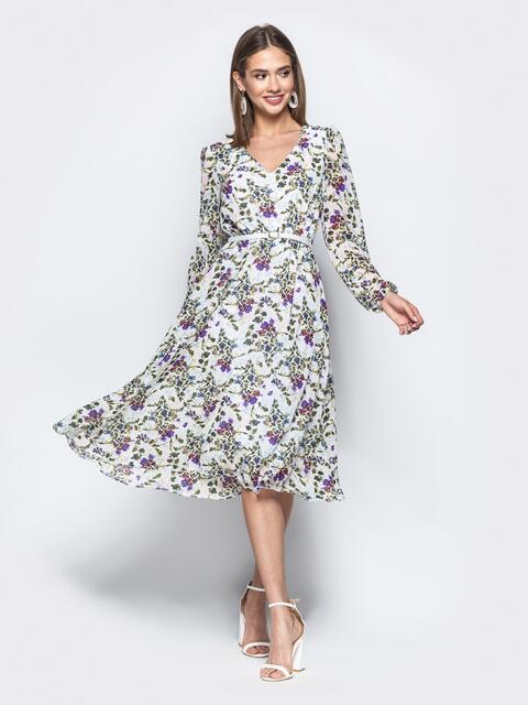 Шифоновое платье с цветочным принтом белое 21668, фото 1