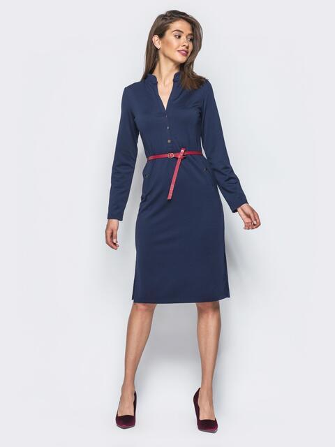 Темно-синее платье с разрезами по бокам и функциональными пуговицами 15635, фото 1