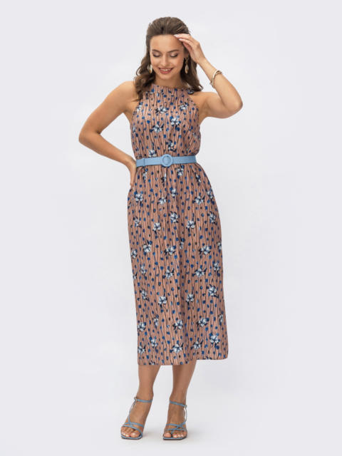 Платье коричневое в цветочный принт  54365, фото 3