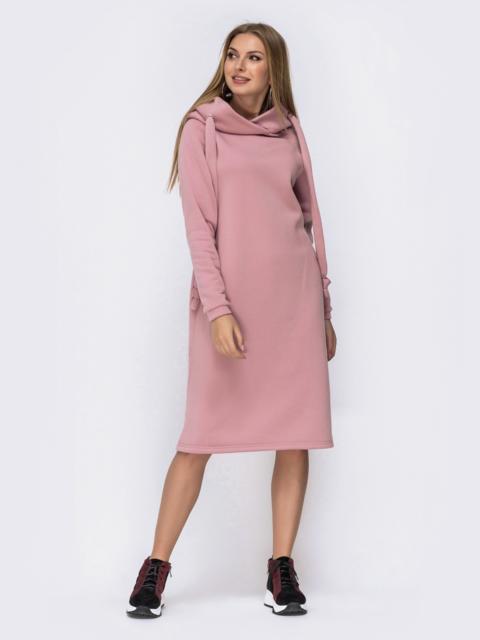 Розовое платье на флисе в стиле oversize с капюшоном 42534, фото 1