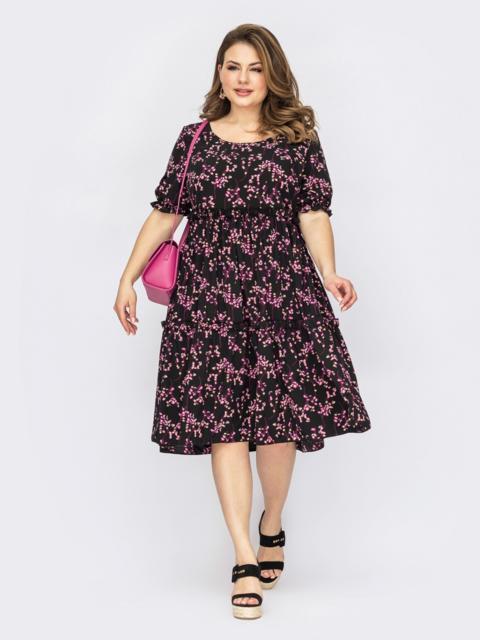 Черное платье батал с принтом и короткими рукавами 53831, фото 1