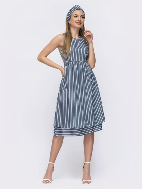 Приталенное платье из льна в полоску голубое 46671, фото 1