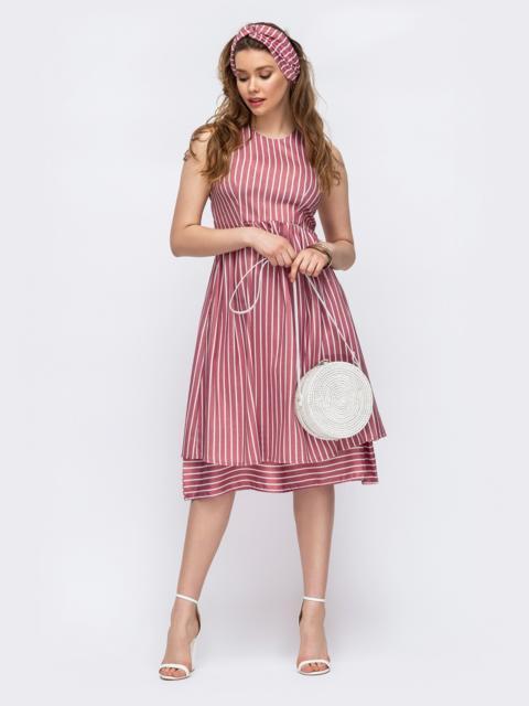 Приталенное платье из льна в полоску розовое 46670, фото 1