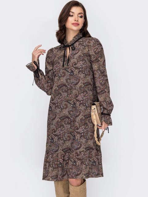 Платье-трапеция с принтом и воланом по низу хаки 51609, фото 2