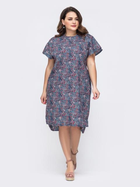 Хлопковое платье с принтом и удлиненной спинкой синее 46214, фото 1