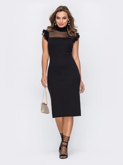Приталенное платье с фатиновой кокеткой в горох черное 51963, фото 1