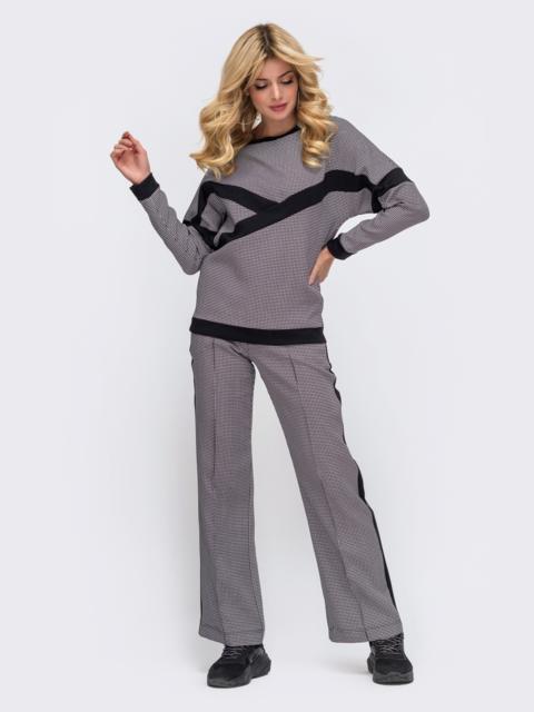 Серый костюм в спортивном стиле из кофты и брюк  50632, фото 1