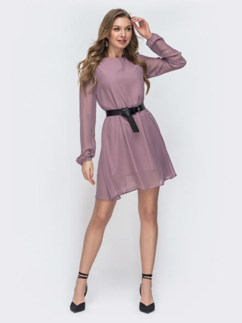 Свободное платье из шифона с контрастным поясом пудровое 45686, фото 1