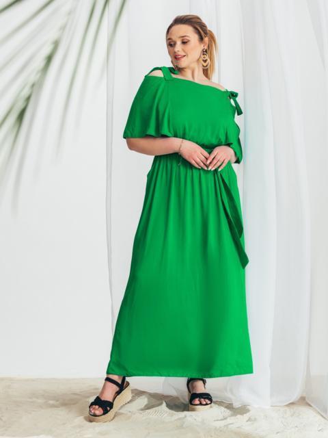 Зеленое расклешенное платье батал 49979, фото 1