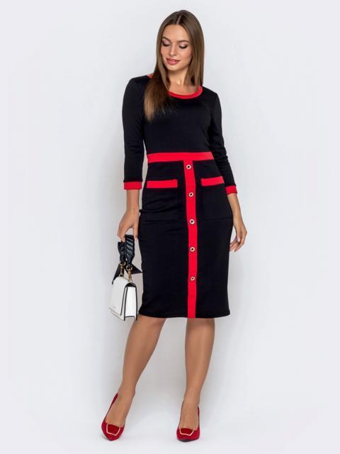 Чёрное платье с контрастной окантовкой и карманами 40570, фото 1