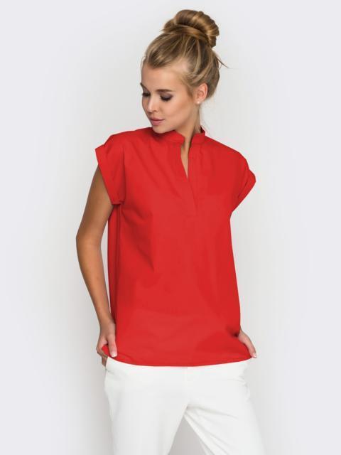 Хлопковая блузка прямого кроя красная 38731, фото 1