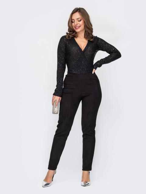 Комбинезон из черного верха с пайетками и замшевых брюк 52312, фото 1