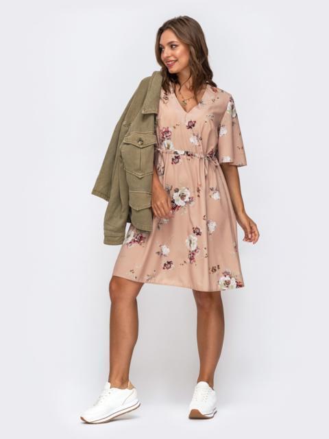 Платье в цветочный принт с кулисками по талии бежевое 50031, фото 3