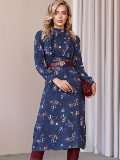 Синее платье с рюшами по полочке и юбкой-трапецией 52859, фото 1