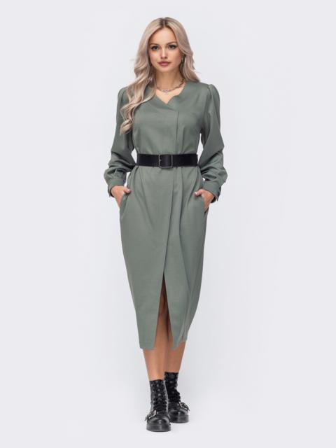 Свободное платье с зауженным низом хаки 50069, фото 1