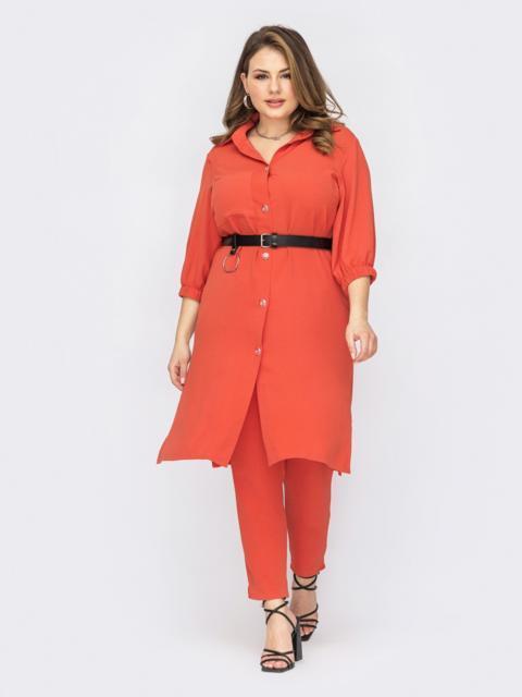 Костюм батал оранжевого цвета с брюками и удлиненной рубашкой 53826, фото 1