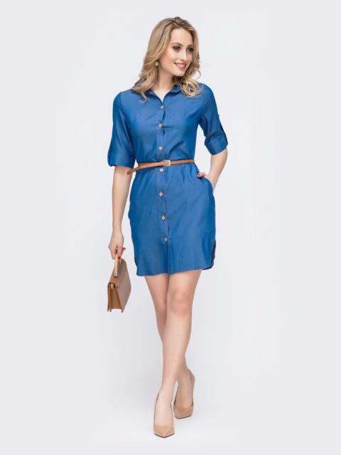Платье-рубашка из облегченного джинса синее 45537, фото 1