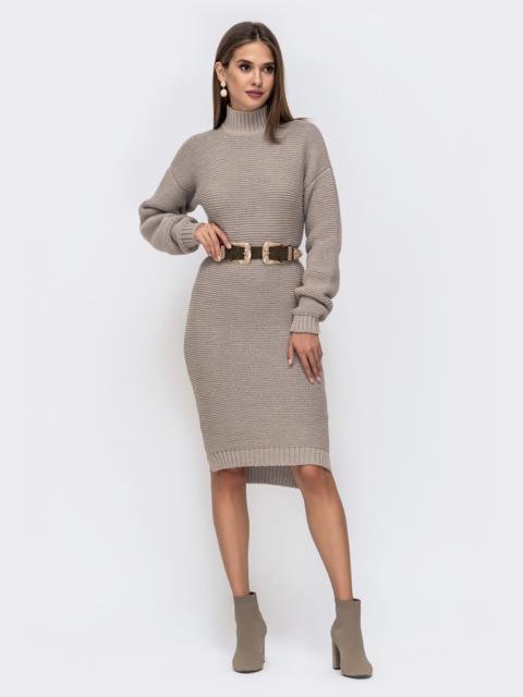 Вязаное платье в воротником-стойкой бежевое 41571, фото 1