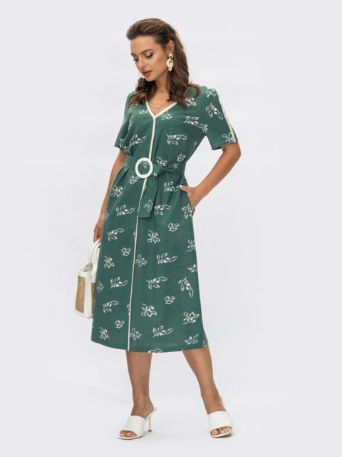 Платье из льна с принтом и V-образным вырезом зеленое 54313, фото 1