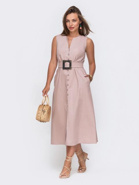 Приталенное платье пудрового цвета из льна на пуговицах 49157, фото 1