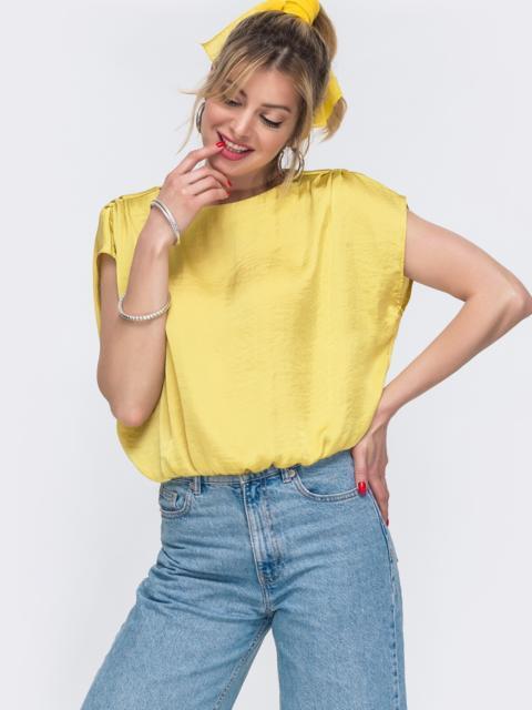 Желтая блузка свободного кроя с резинкой по низу 48428, фото 1