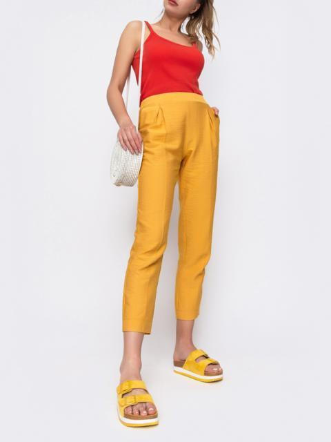Желтые брюки из льна с резинкой по талии 48436, фото 1