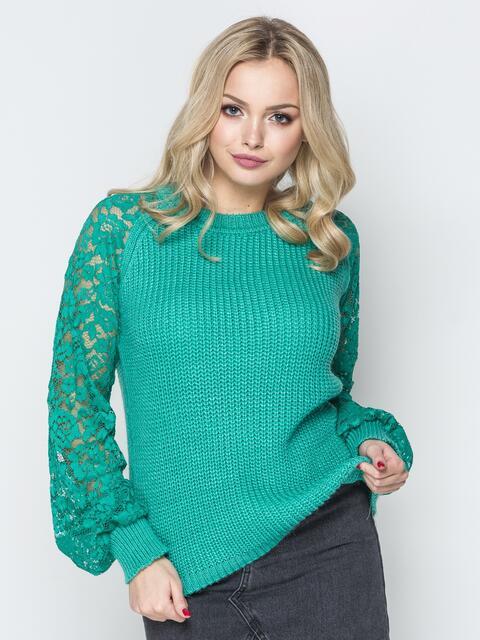 Бирюзовый свитер с рукавами-реглан из гипюра 20127, фото 1