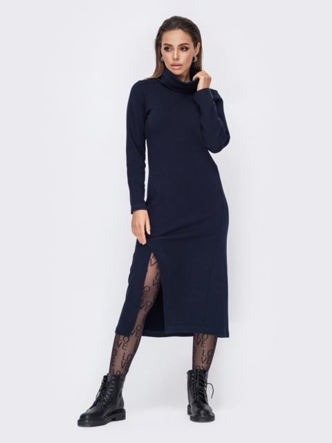 Обтягивающее платье с воротником под горло тёмно-синее 52746, фото 1