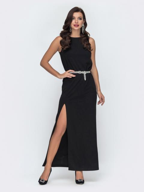 Прямое платье с высоким разрезом сбоку черное 52056, фото 1