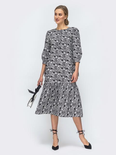 Чёрное платье с принтом и воланом по низу 45733, фото 1