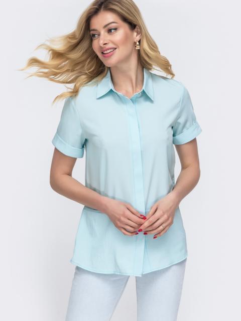 Голубая рубашка с коротким рукавом и супатной застёжкой 48597, фото 1