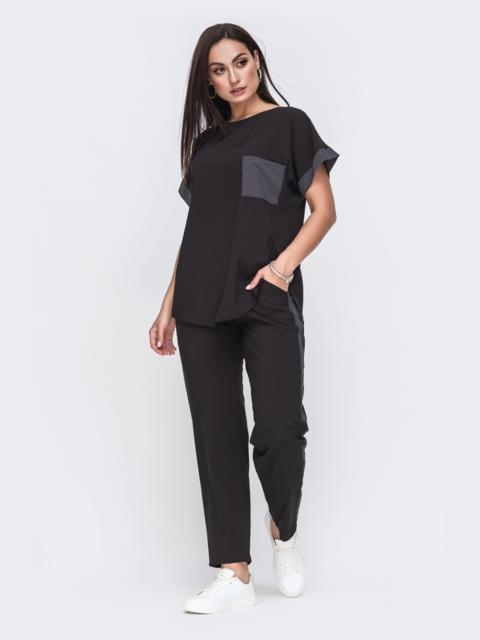 Комплект большого размера из чёрной футболки и брюк 49584, фото 1