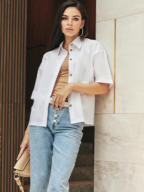 Белая блузка из хлопка с коротким рукавом 54616, фото 1