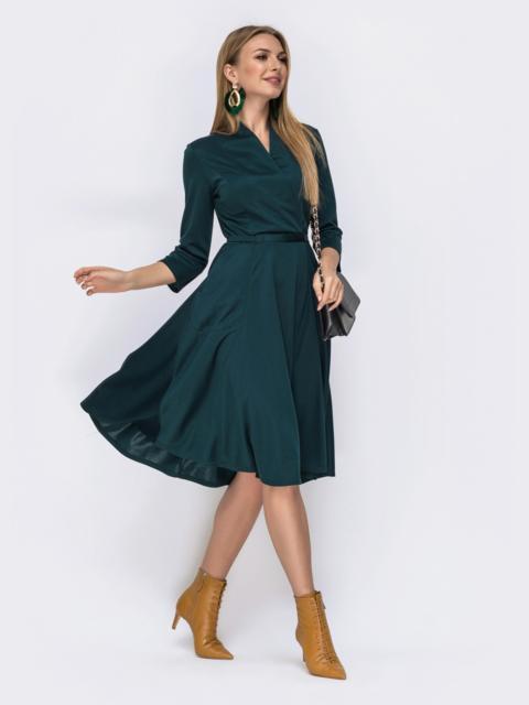 Трикотажное платье с накладными карманами зелёное 42292, фото 1