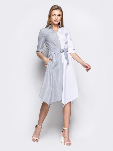 Двухцветное платье-рубашка с асимметричным низом белое 21649, фото 1