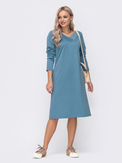 Прямое платье из джерси с треугольным вырезом голубое 51189, фото 1