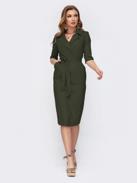 Платье-миди приталенного кроя цвета хаки с карманами   49909, фото 1