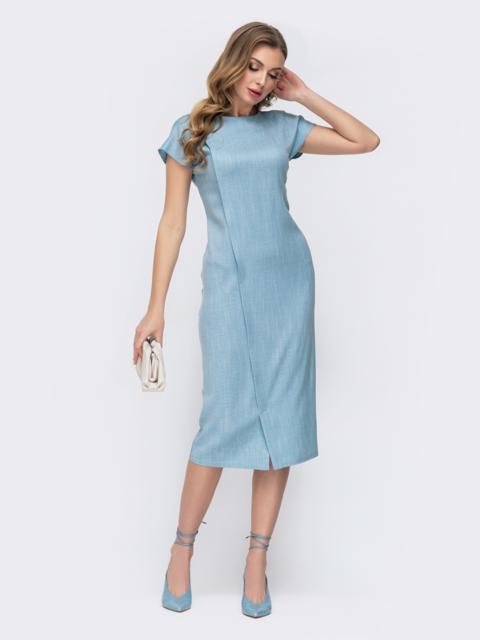 Голубое платье-миди с треугольным вырезом на спинке 46784, фото 1