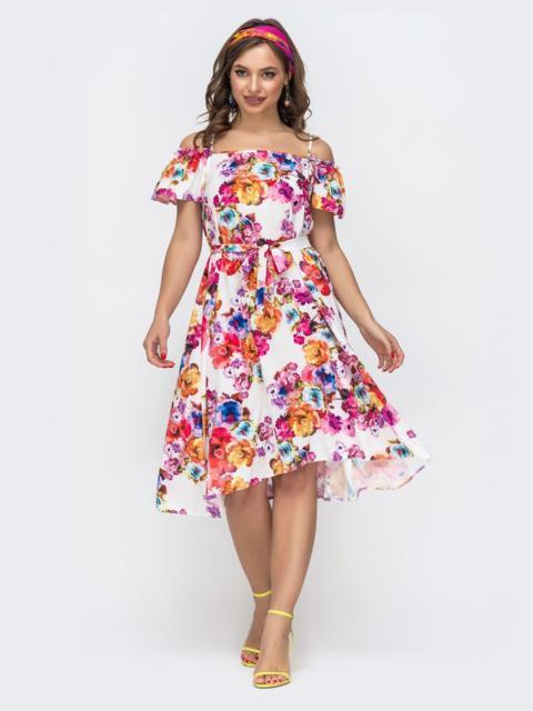 Молочное платье в цветочный принт на узких бретелях 46781, фото 1