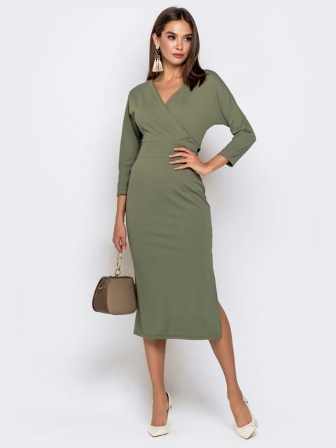 Обтягивающее платье цвета хаки с разрезом 41034, фото 1