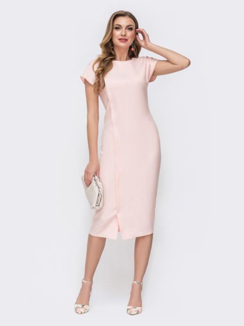 Пудровое платье-миди с треугольным вырезом на спинке 46783, фото 1