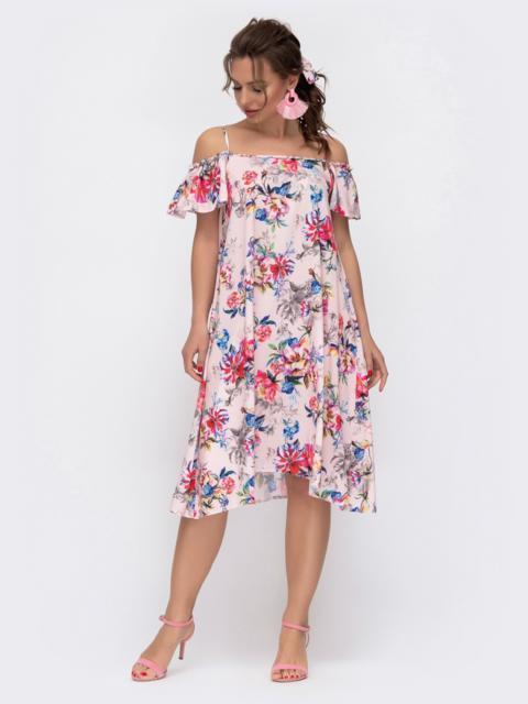 Пудровое платье в цветочный принт на узких бретелях 46782, фото 1