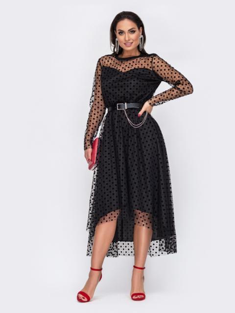 Расклешенное платье батал в горох со шлейфом чёрное 52164, фото 1