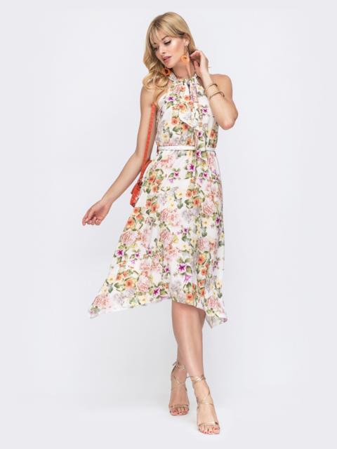 Расклешенное платье с цветочным принтом и американской проймой 49405, фото 1