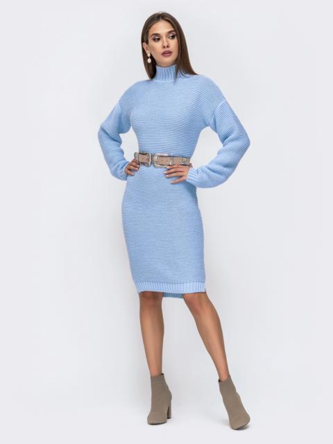 Вязаное платье в воротником-стойкой голубое 41572, фото 1