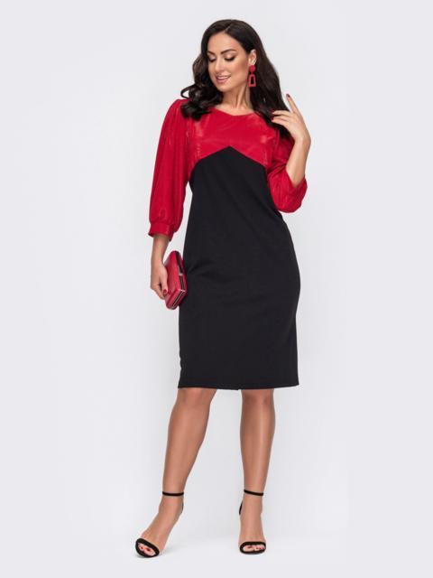 Приталенное платье батал с красной кокеткой из люрекса 52214, фото 1