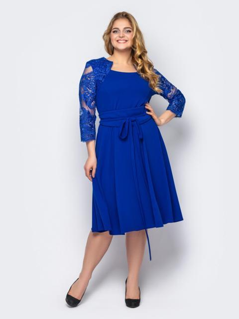 Синее платье батал с гипюром и юбкой-клеш 53604, фото 1
