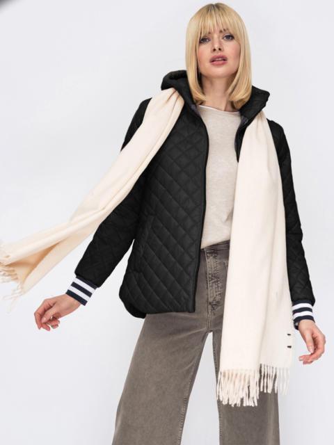 Стеганая куртка с трикотажными манжетами черная 53211, фото 1