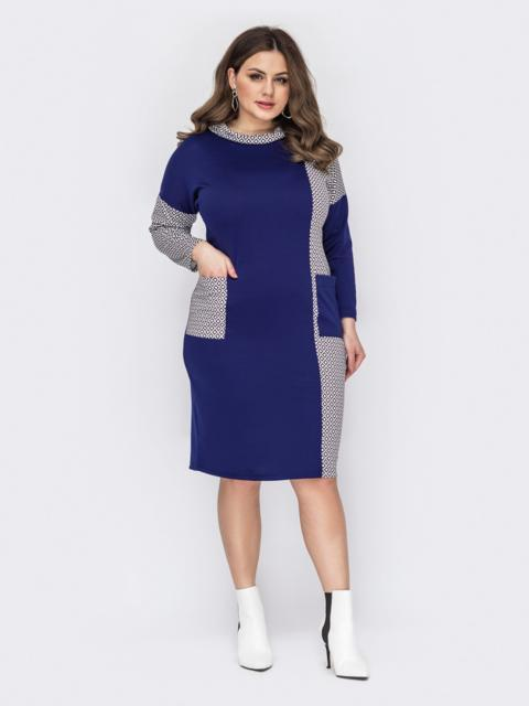 Темно-синее платье батал с карманами на полочке 53185, фото 1
